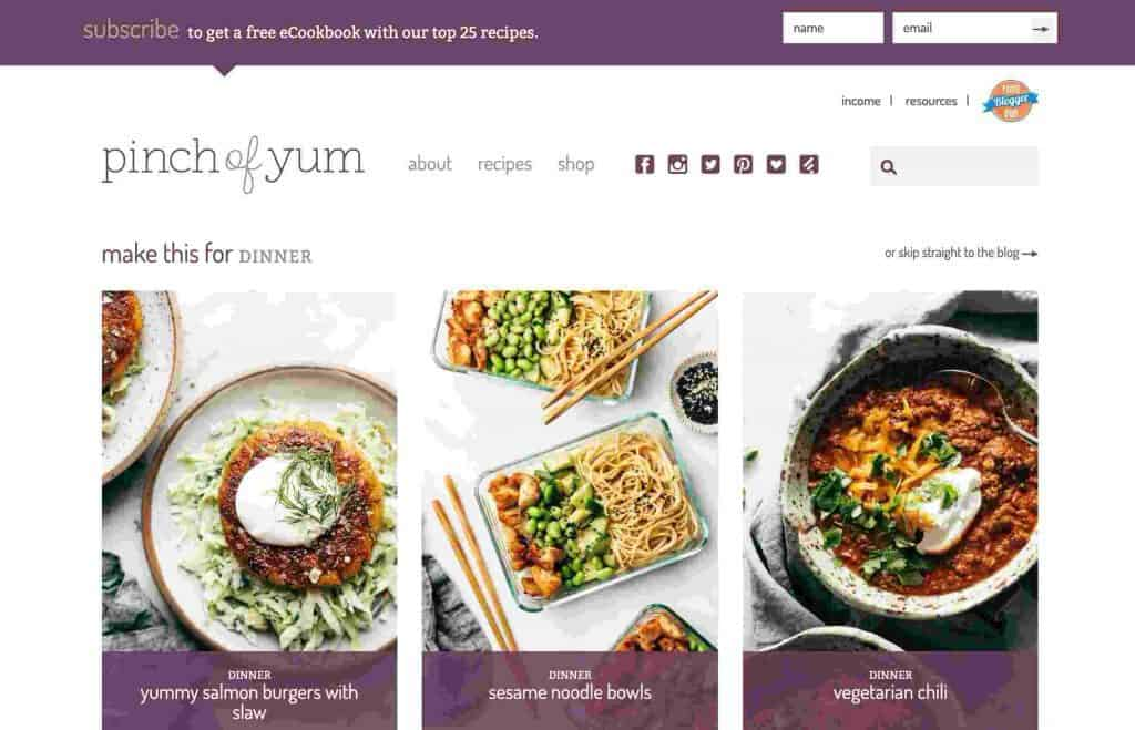 Contoh Blog Pribadi Pinch of Yum