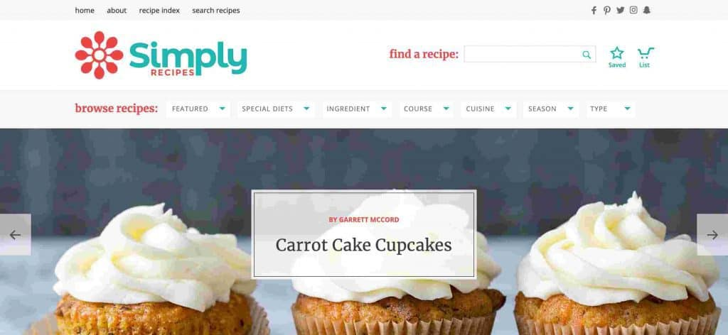 Contoh Blog Pribadi Simply Recipes