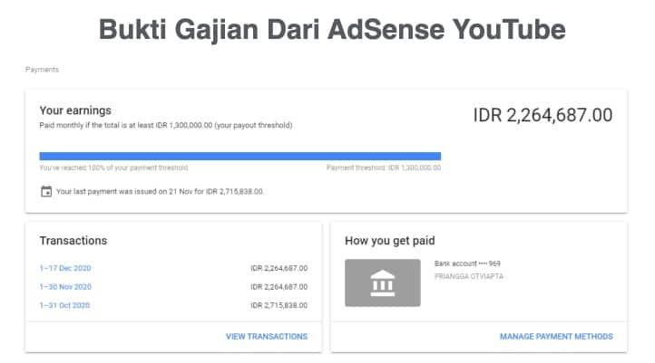 Gajian Adsense dari You Tube Priangga