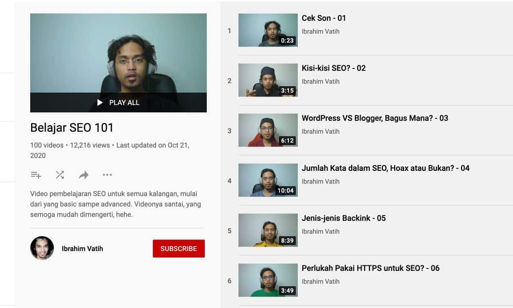 Link You Tube Ibrahim Vatih Pakar SEO Indonesia