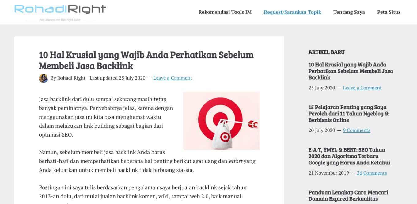 Pakar SEO Indonesia Rohadi Right